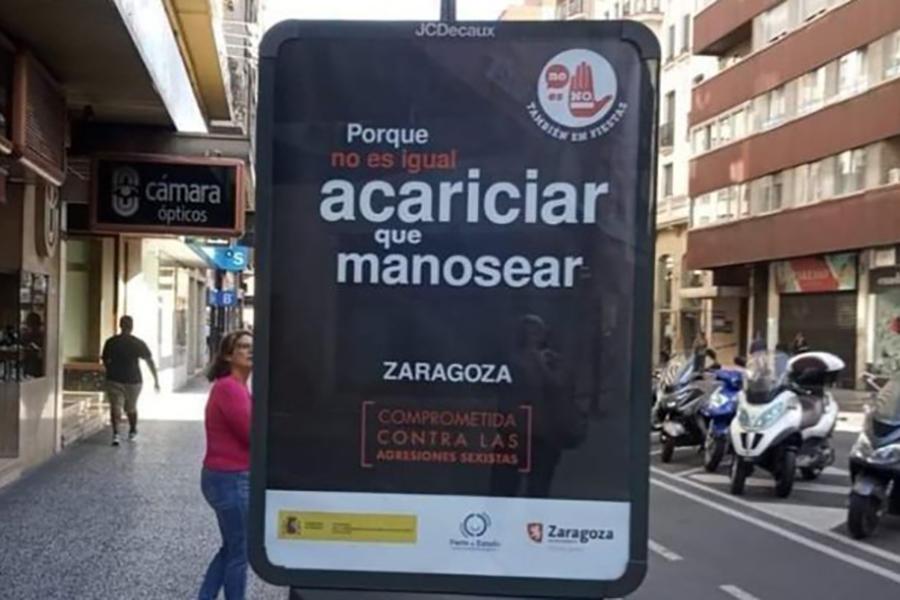 """El Ayuntamiento retira el mensaje """"No es igual acariciar que manosear"""" de la campaña contra las agresiones sexistas tras las criticas de la COF, FABZ, 8M, ZeC y Podemos"""