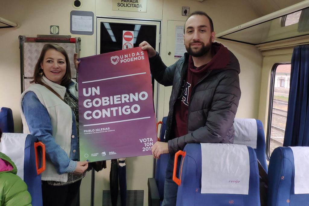 Unidas Podemos apuesta por la reapertura del Canfranc e inicia su campaña electoral en Teruel