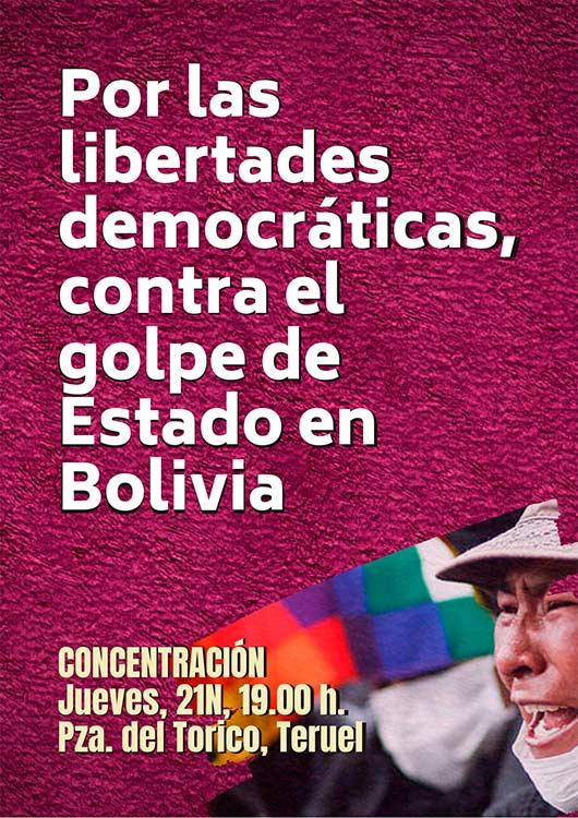 Teruel se concentra en contra del golpe de Estado en Bolivia - AraInfo   Achencia de Noticias d'Aragón