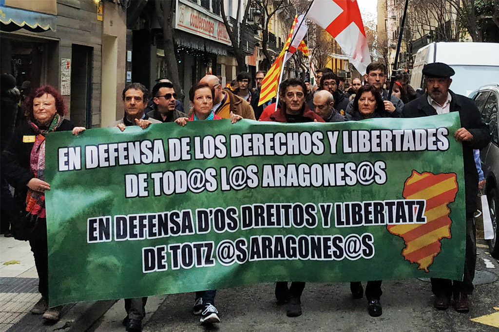 El soberanismo de cuchas se manifiesta en defensa de los derechos y libertades de Aragón