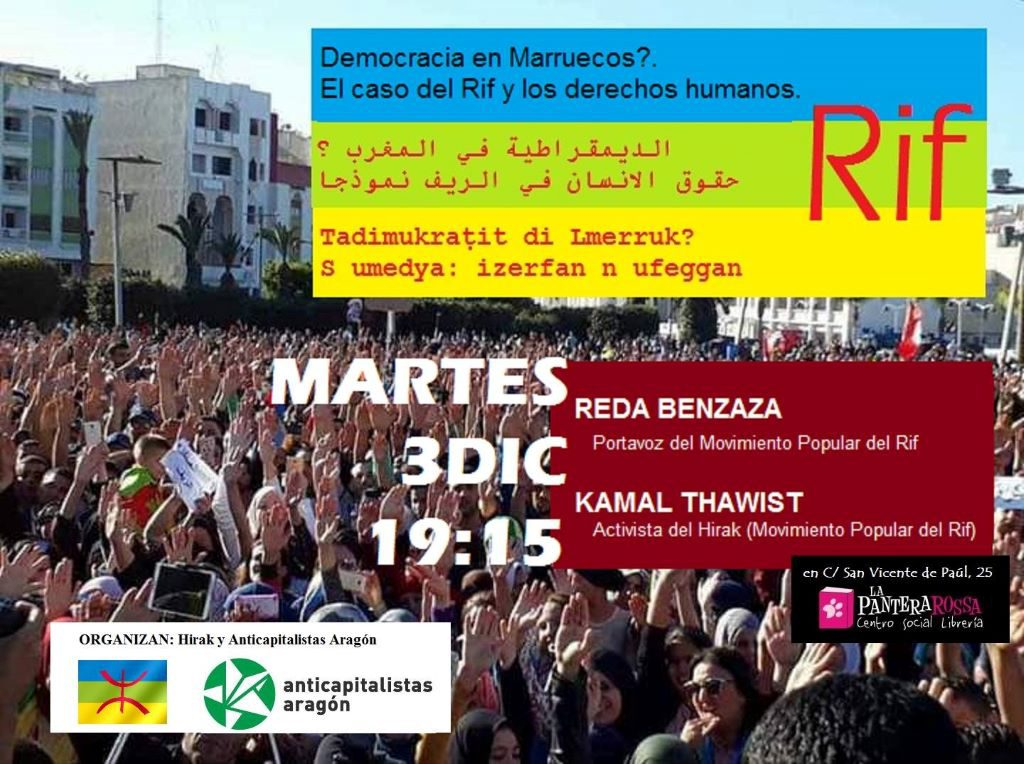 El movimiento Hirak y Anticapitalistas Aragón organizan una charla sobre el Rif y los derechos humanos en Marruecos