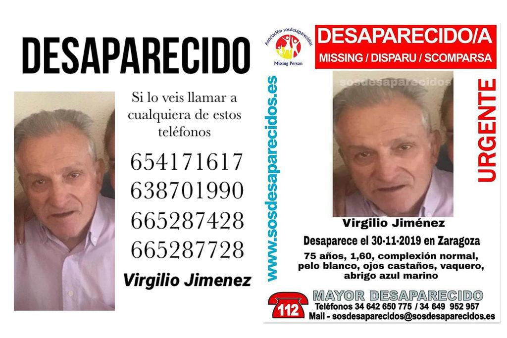 Continúa la búsqueda de Virgilio Jiménez, desaparecido el 30 de noviembre en Zaragoza