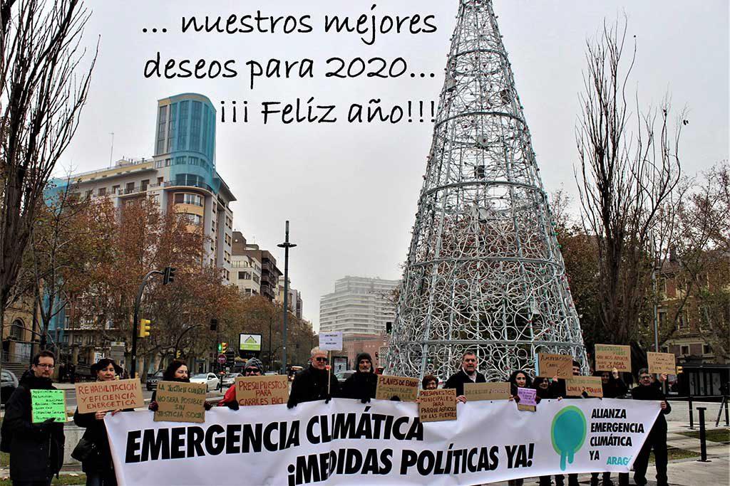 La Alianza por la Emergencia Climática en Aragón expresa a través de fotos-felicitación sus deseos para el 2020
