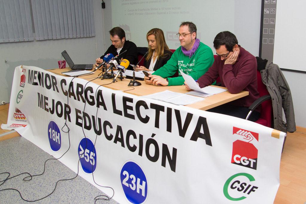 """CCOO, CGT, STEA y CSIF reclaman que la educación pública deje de ser la """"cenicienta"""" del Gobierno aragonés"""