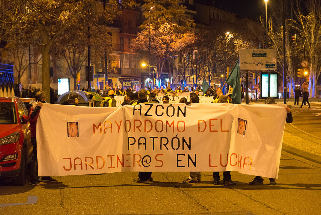 «Azcón, mayordomo del patrón»: masivo respaldo a las y los jardineros que este lunes comienzan huelga indefinida