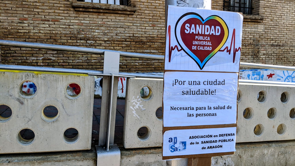 La defensa de la sanidad pública también ha sido protagonista. Foto: @igoiz17 (AraInfo)
