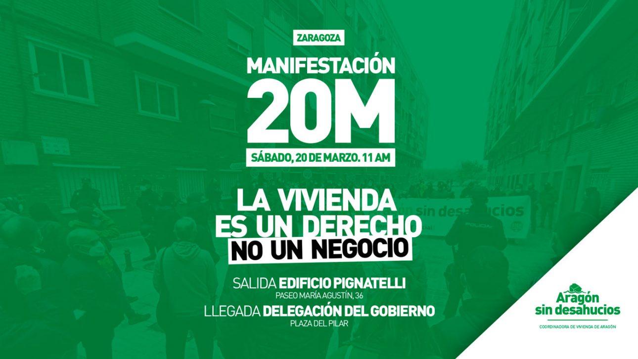 20M: Zaragoza sale a las calles para conquistar el derecho a la vivienda